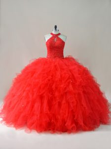 Floor Length Ball Gowns Sleeveless Red Quince Ball Gowns Lace Up