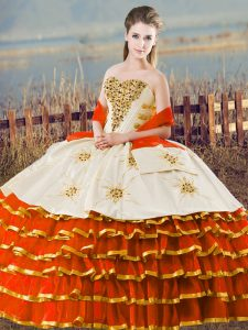 Fabulous Orange Lace Up Sweetheart Ruffled Layers Quinceanera Dresses Organza Sleeveless
