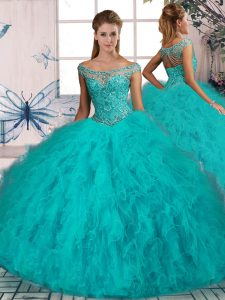 Sleeveless Tulle Brush Train Lace Up Quinceanera Gown in Aqua Blue with Beading and Ruffles