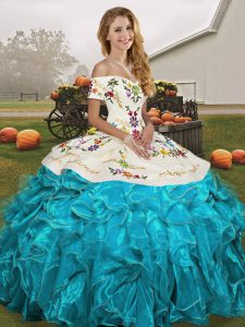 Luxurious Aqua Blue Lace Up Quinceanera Dress Embroidery and Ruffles Sleeveless Floor Length
