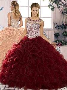 Custom Designed Burgundy Ball Gowns Beading and Ruffles Sweet 16 Quinceanera Dress Lace Up Organza Sleeveless Floor Length