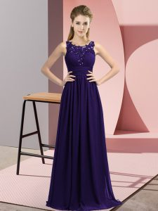 Floor Length Purple Dama Dress for Quinceanera Scoop Sleeveless Zipper