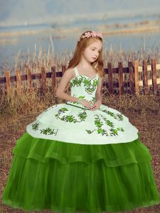 Green Tulle Lace Up Pageant Gowns For Girls Sleeveless Floor Length Embroidery