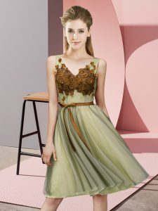 Yellow Empire V-neck Sleeveless Tulle Knee Length Lace Up Appliques Quinceanera Dama Dress