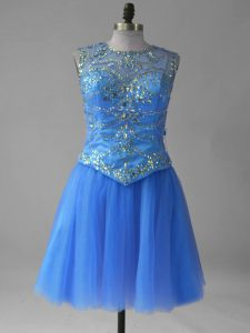 Stunning Blue Lace Up Scoop Beading and Sequins Prom Dress Tulle Sleeveless