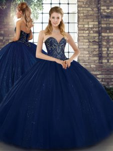 Custom Made Navy Blue Sleeveless Floor Length Beading Lace Up Quinceanera Dresses