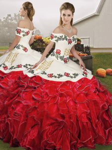 Designer White And Red Lace Up Quince Ball Gowns Embroidery and Ruffles Sleeveless Floor Length