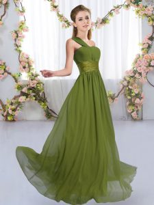 Chiffon Sleeveless Floor Length Quinceanera Court Dresses and Ruching