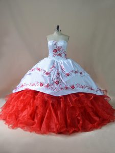 Latest White And Red Lace Up Sweetheart Embroidery 15th Birthday Dress Satin and Organza Sleeveless Court Train