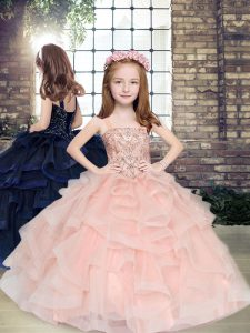 Simple Tulle Straps Sleeveless Lace Up Beading and Ruffles Pageant Gowns For Girls in Peach