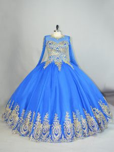 Blue High-neck Lace Up Beading and Appliques 15 Quinceanera Dress Long Sleeves