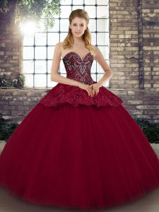 Burgundy Sweetheart Neckline Beading and Appliques Quinceanera Gowns Sleeveless Lace Up
