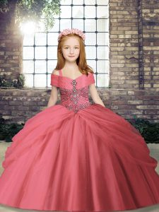 Fashion Watermelon Red Tulle Lace Up Kids Pageant Dress Sleeveless Floor Length Beading