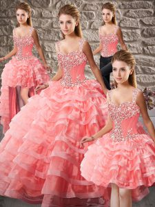 Lace Up Vestidos de Quinceanera Watermelon Red for Sweet 16 and Quinceanera with Beading and Ruffled Layers Court Train
