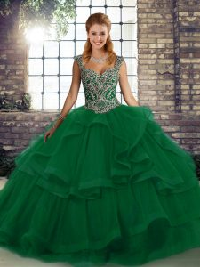 Lovely Green Tulle Lace Up Straps Sleeveless Floor Length Quinceanera Dresses Beading and Ruffles