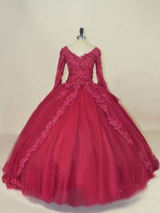 Flare Floor Length Red Quinceanera Dress Tulle Long Sleeves Lace and Appliques