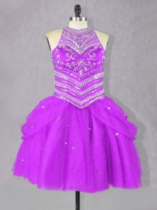 Trendy Sleeveless Tulle Mini Length Lace Up Prom Evening Gown in Fuchsia with Beading