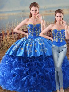 High End Sweetheart Sleeveless Quinceanera Gowns Brush Train Embroidery and Ruffles Royal Blue Fabric With Rolling Flowers