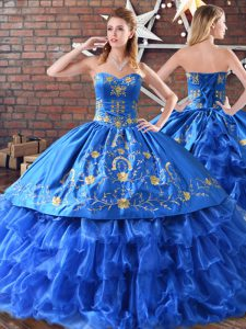 Chic Blue Ball Gowns Satin and Organza Sleeveless Embroidery Floor Length Ball Gown Prom Dress