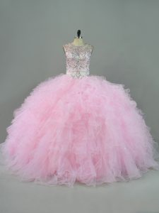 Unique Sleeveless Lace Up Floor Length Beading and Ruffles Ball Gown Prom Dress