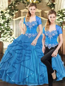 Decent Blue Tulle Lace Up Sweetheart Sleeveless Floor Length 15th Birthday Dress Beading and Ruffles