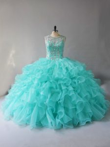 Scoop Sleeveless Organza Sweet 16 Dresses Beading and Ruffles Lace Up