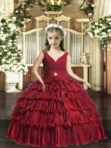 Sleeveless Floor Length Beading and Ruffled Layers Backless Little Girl Pageant Dress with Red