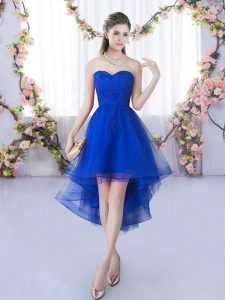 Suitable Royal Blue Lace Up Court Dresses for Sweet 16 Lace Sleeveless High Low