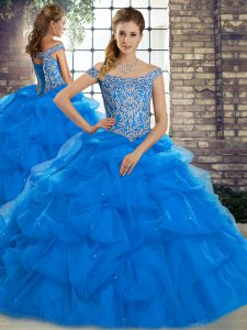 Tulle Sleeveless 15th Birthday Dress Brush Train and Beading and Pick Ups