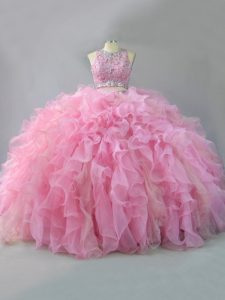 Shining Sleeveless Organza Floor Length Lace Up Quinceanera Dresses in Pink with Beading and Ruffles