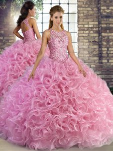Custom Design Rose Pink Fabric With Rolling Flowers Lace Up Ball Gown Prom Dress Sleeveless Floor Length Beading