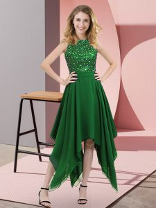 Captivating Beading and Sequins Homecoming Dress Dark Green Zipper Sleeveless Asymmetrical