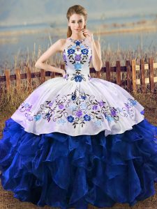 Customized Blue And White Ball Gowns Organza Halter Top Sleeveless Embroidery and Ruffles Floor Length Lace Up Quinceanera Gowns