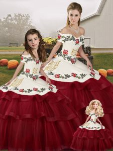 High Quality Ball Gowns Sleeveless Wine Red 15th Birthday Dress Brush Train Lace Up