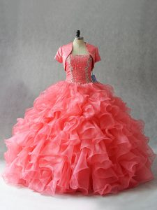 Fancy Floor Length Lace Up Sweet 16 Dress Watermelon Red for Sweet 16 and Quinceanera with Beading