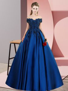 Latest Floor Length A-line Sleeveless Blue 15th Birthday Dress Zipper