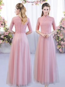 Pink Tulle Zipper Quinceanera Court Dresses Half Sleeves Floor Length Lace