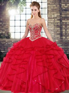 Top Selling Sweetheart Sleeveless Lace Up Quinceanera Dresses Red Tulle