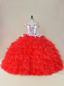 Fitting White And Red Off The Shoulder Neckline Embroidery and Ruffles Quinceanera Dress Sleeveless Lace Up