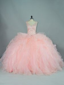 Eye-catching Sleeveless Ruffles Lace Up Quinceanera Gowns