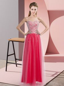 Eye-catching Sweetheart Sleeveless Tulle Prom Evening Gown Beading Lace Up