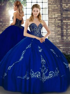 Floor Length Royal Blue Quince Ball Gowns Tulle Sleeveless Beading and Embroidery
