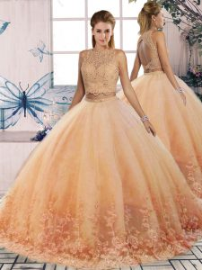 Comfortable Tulle Scalloped Sleeveless Sweep Train Backless Lace Ball Gown Prom Dress in Peach