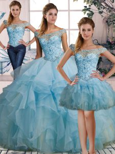 Edgy Light Blue Lace Up Off The Shoulder Beading and Ruffles Quinceanera Gown Organza Sleeveless