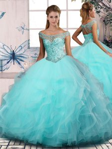 Off The Shoulder Sleeveless 15 Quinceanera Dress Floor Length Beading and Ruffles Aqua Blue Tulle