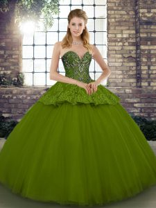 Luxurious Olive Green Ball Gowns Beading and Appliques Quinceanera Dress Lace Up Tulle Sleeveless Floor Length