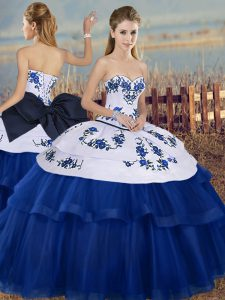 Custom Designed Ball Gowns Vestidos de Quinceanera Royal Blue Sweetheart Tulle Sleeveless Floor Length Lace Up