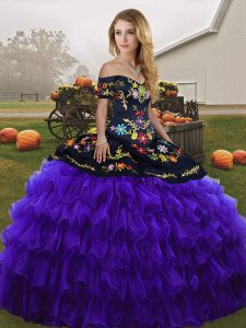 Black And Purple Sleeveless Floor Length Embroidery and Ruffled Layers Lace Up Quinceanera Gown