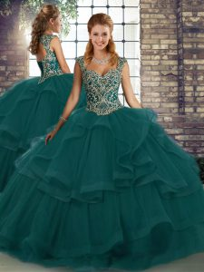 Cheap Peacock Green Tulle Lace Up Straps Sleeveless Floor Length Sweet 16 Quinceanera Dress Beading and Ruffles