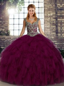 Chic Sleeveless Lace Up Floor Length Beading and Ruffles Sweet 16 Quinceanera Dress